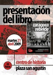 Cartel de presentacion del libro Zaragoza Rebelde